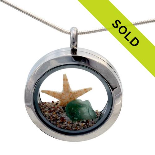 Beach Lovers Locket Aqua Sea Glass and Real Starfish