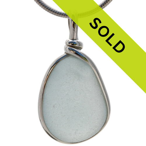 Stormy Day - Gray Blue Glass In Sterling Original Wire Bezel© Sterling Pendant