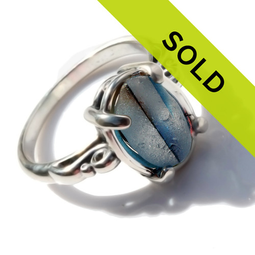 A stunning piece of Victorian Era mixed 3 color multi glass set in a secure solid sterling prong ring.  Sorry this sea glass jewelry piece has sold!