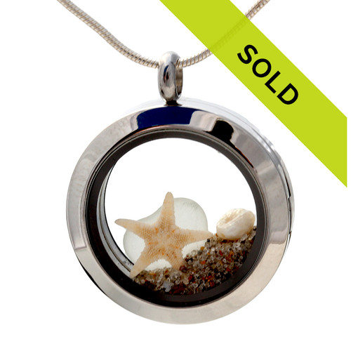 Pure Beachlovers - White Sea Glass Stainless Steel Locket