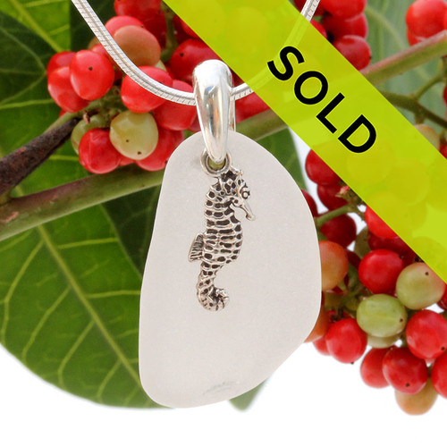 White Sea Glass Necklace With Seahorse Charm Sterling Bail - S/S CHAIN INCLUDED