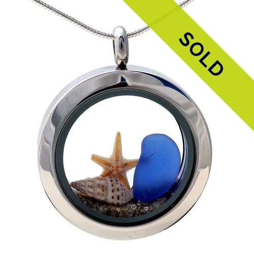 Beachscape- & Blue Sea Glass & Starfish/Shell In Locket