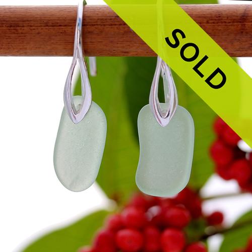 Elegant Seafoam Green Sea Glass Earrings On Silver Silver Deco Hooks