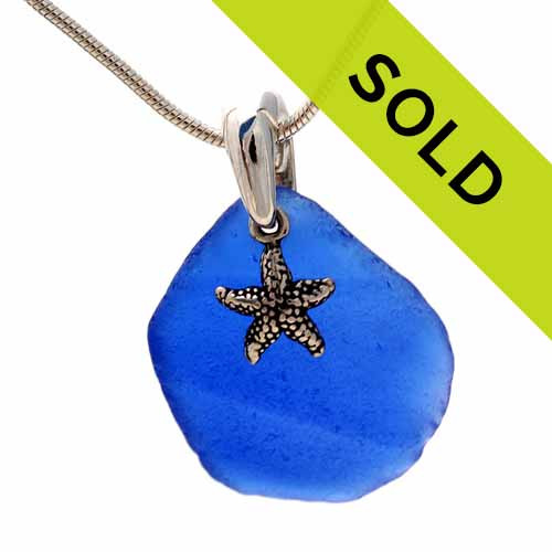 Sea Charmed - Natural Sea Glass In Blue On Sterling Bail W/ Starfish Necklace