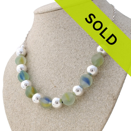 8 Genuine Beach Found Marbles combined with Sterling Beads On a Sterling One-Of-A-Kind Sea Glass Necklace