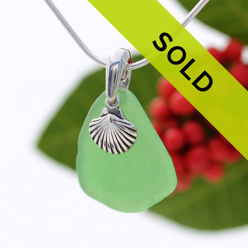 Green Genuine Sea Glass Necklace With Sterling Shell Charm - S/S CHAIN INCLUDED