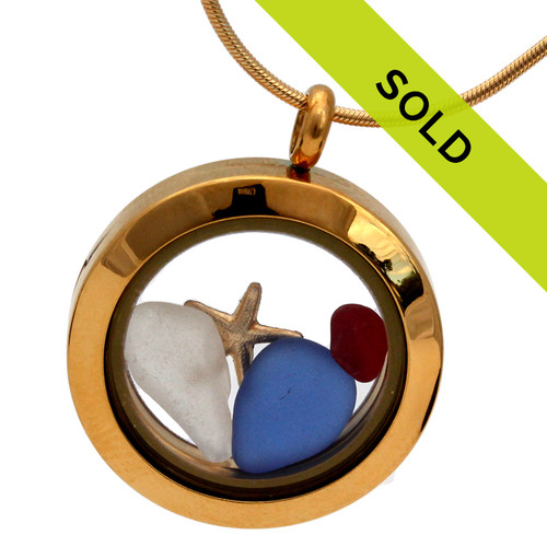 Patriots -Red White & Blue Sea Glass With Star In Gold Locket