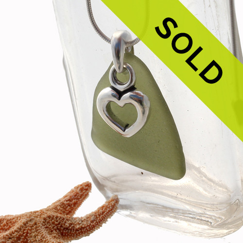 Sea Charmed - Olive Green Sea Glass With Heart Charm Necklace