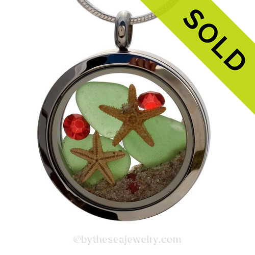 Green sea glass and vivid red gemstones make this a great locket necklace for the holidays. Sorry this Sea Glass Locket Necklace has been SOLD!