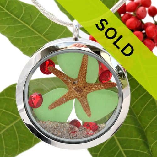 Green sea glass and vivid red gemstones make this a great jumbo locket necklace for the holidays. Sorry this sea glass jewelry item has been sold!