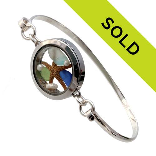 High Tide  - Blue , Green and Aqua Sea Glass Beach Bangle Locket Bracelet