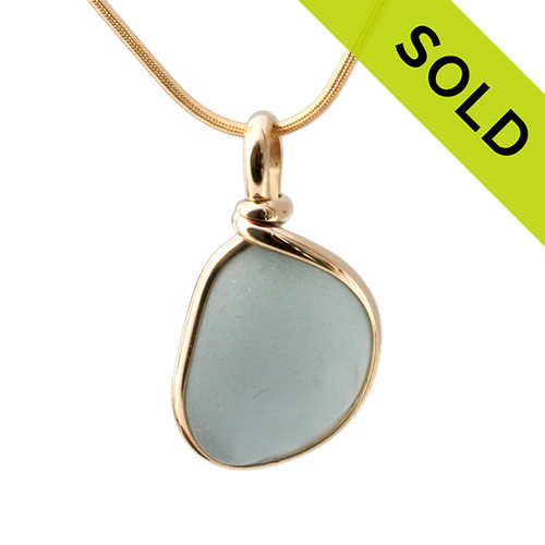 Storm Ahead - Gray Blue Glass In 14K G/F Original Wire Bezel© Sterling Pendant  SOLD - Sorry this Rare Sea Glass Pendant is NO LONGER AVAILABLE!