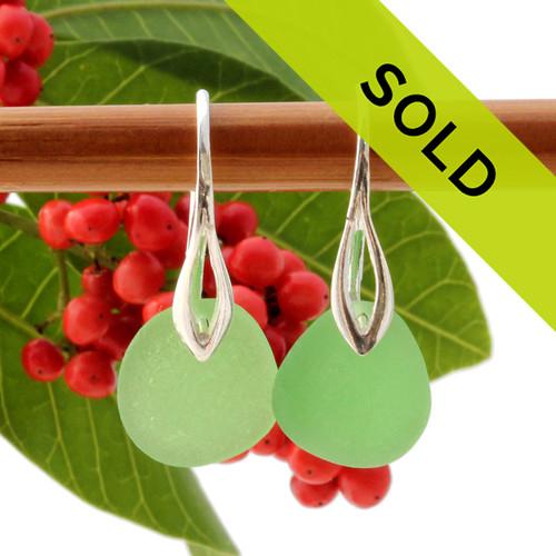 Simply Green Sea Glass Earrings On Silver Deco Hooks