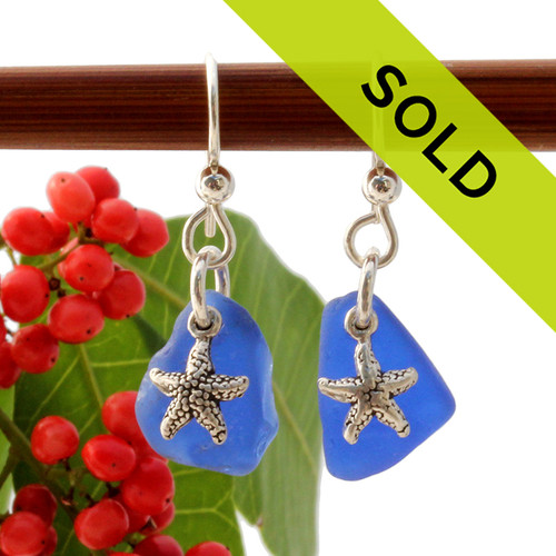 Genuine Beach Found Blue Sea Glass Earrings On Sterling W/ Starfish Charms Sorry this pair of sea glass earrings has sold!