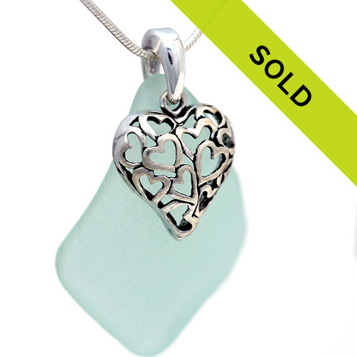 LARGE Aqua Green Sea Glass Necklace On Sterling W/ Filagree Heart