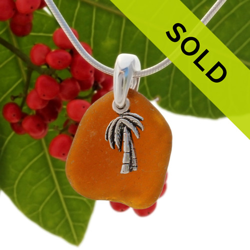 """Vivid Amber sea glass set on a solid sterling cast bail with a sterling silver  Palm Tree charm. The sea glass necklace comes on our 18"""" solid sterling smooth snake chain (SHOWN and included)"""