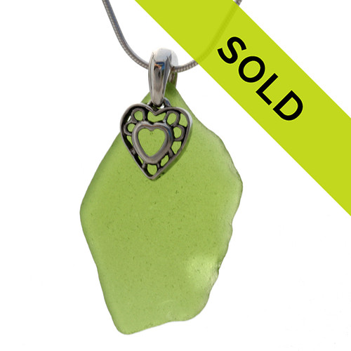 Large RARE Lime Green Sea Green Sea Glass With Sterling Silver Heat In Heart Charm - S/S CHAIN INCLUDED