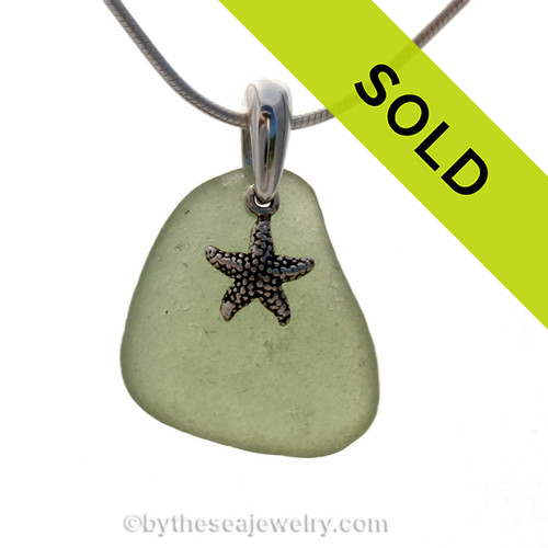 A PERFECT piece of Citron Green Certified Genuine Sea Glass in a Sterling Necklace With a Silver Star Fish Charm on a hand cast bail.
