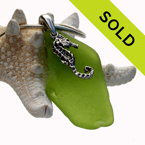 Sorry this lime green sea glass necklace on sterling has been sold!
