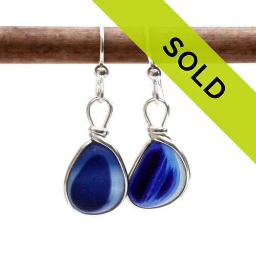 Sorry these Seaham English Multi Sea Glass Earrings in a vivid mixed blue set in sterling silver have been sold!