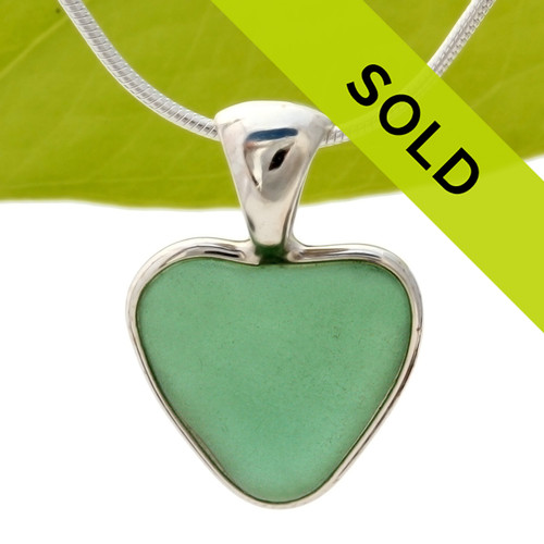 Aqua Green Natural Sea Glass Heart In Deluxe Sterling Bezel© - S/S CHAIN INCLUDED
