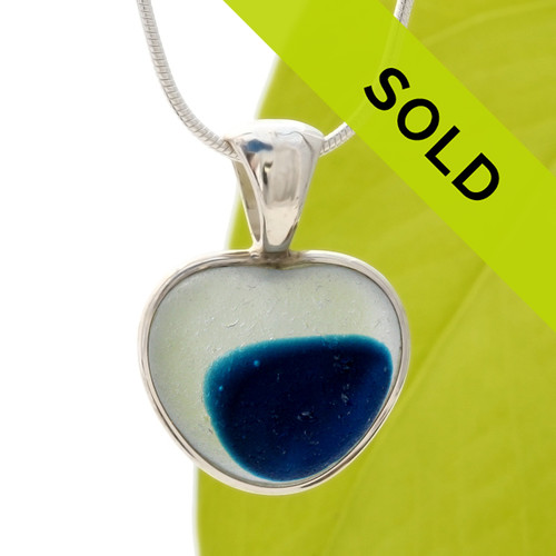 Ultra Rare Mixed Royal Blue Natural Sea Glass Heart In Deluxe Sterling Bezel© - S/S CHAIN INCLUDED