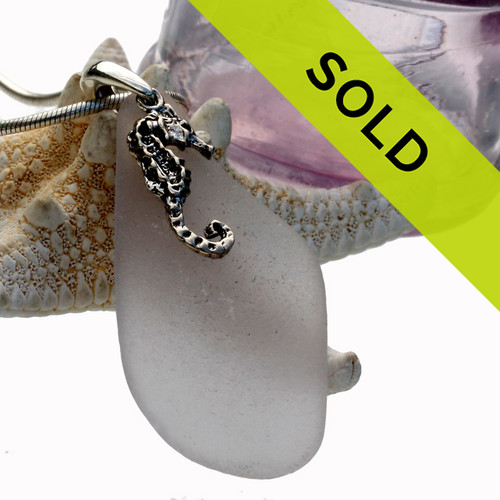 Sorry this perfect lavender sea glass pendant with silver seahorse has been sold!