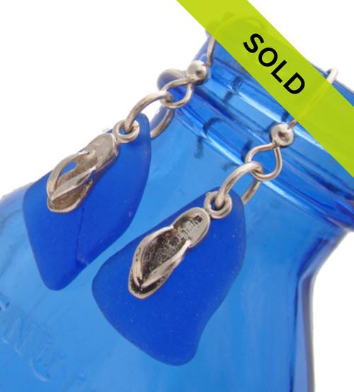 Sea Charmed - LARGE Cobalt Blue Sea Glass W/ Flops