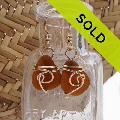 Amber Brown Sea Glass Earrings In 14K Goldfilled Sea Swirl Setting