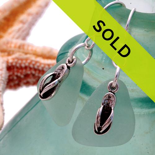 Sea Charmed - Pale Aqua Sea Glass w/ SS Flip Flops