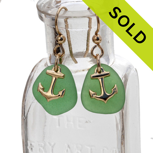 Lightweight green sea glass pieces are set with 14K Goldfilled Anchor charms on professional grade earring wires. SOLD - Sorry This Sea Glass Jewerly Selection Is NO LONGER AVAILABLE!
