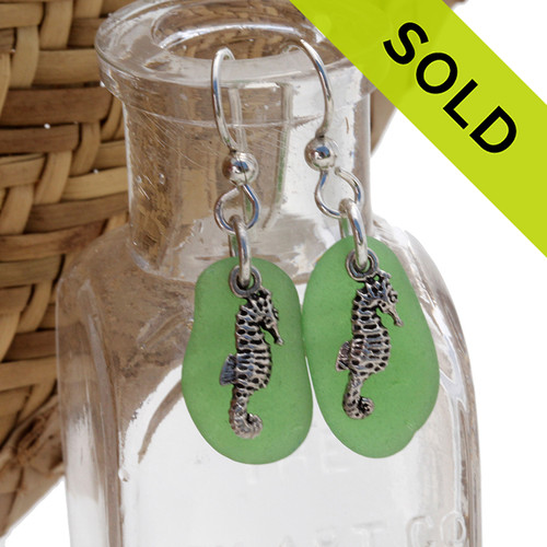 A simple pair of genuine  greenSea Glass Earrings with seahorse charms, great for any true beach lover!~ SOLD - Sorry this Sea Glass Jewelry selection is NO LONGER AVAILABLE!