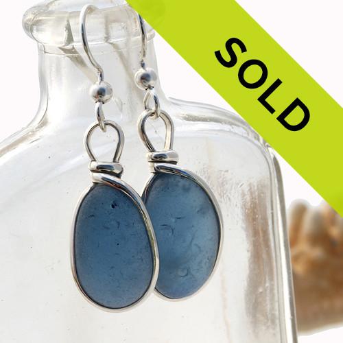 Bubbled Blue Sea Glass In Sterling Original Wire Bezel©