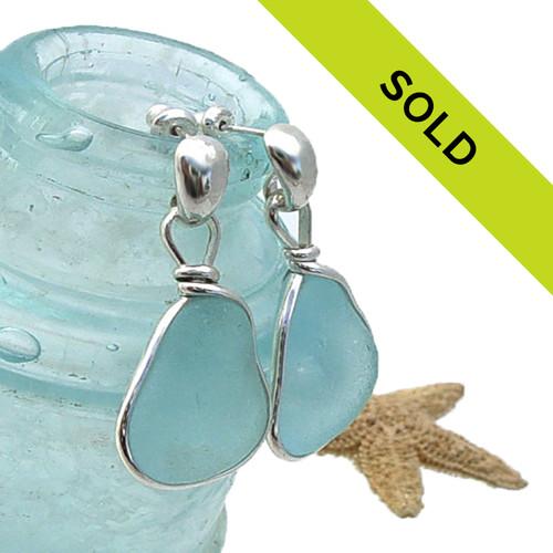 LARGE Aqua Sea Glass Earrings In S/S Original Wire Bezel© On Posts