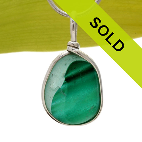Large mixed or multi green sea glass necklace pendant in Original wire Bezel sterling silver setting. Sorry this sea glass jewelry piece has been sold!