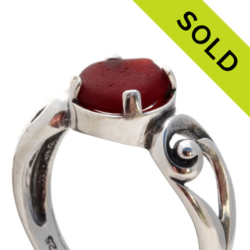 SOLD - sorry this Sea Glass Ring in red is NO LONGER AVAILABLE!