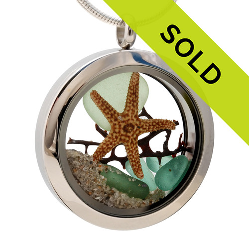 Seafoam and Aqua Green genuine beach found sea glass combined with a real starfish and seafan, a real underwater scene. Your own personal Beach-On-The-Go! Sorry this sea glass jewelry selection has been sold!