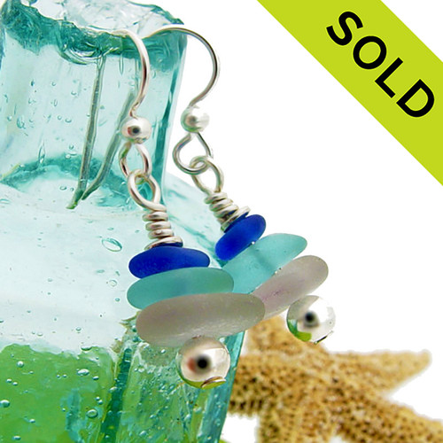 Blue aqua and purple sea glass in a rare combo stack earring. Sorry these Sea Glass Earrings have been SOLD!