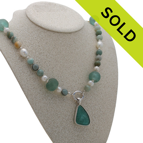 The Amazonite and sea glass necklace can be worn alone, OR with other pendants. SOLD - Sorry this Limited Edition Sea Glass Jewelry selection is NO LONGER AVAILABLE!!