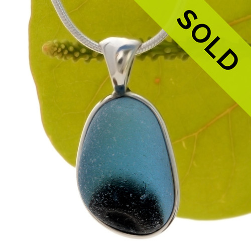 A lovely piece of mixed blue Victorian Era Art glass perfectly encased in our Original Wire Bezel© setting in silver Sea Glass Pendant. SOLD - Sorry this Ultra Rare Sea Glass Pendant is NO LONGER AVAILABLE!