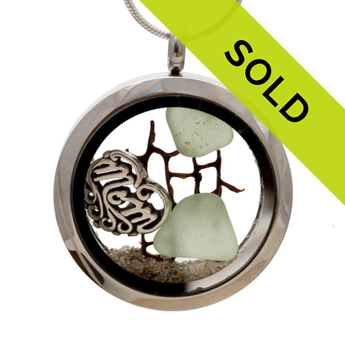 For Mom - Seafoam Green Sea Glass, Seafan and Real Sand With Mom Charm