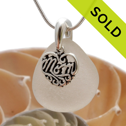 A perfect piece of pure white genuine sea glass with a solid sterling bail and MOM charm. SOLD - Sorry this Sea Glass Necklace is NO LONGER AVAILABLE!