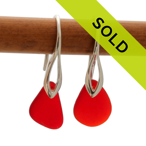 RARE Genuine Vivid red sea glass pieces on a solid sterling deco hook earring. Sorry this sea glass jewelry item has been sold!