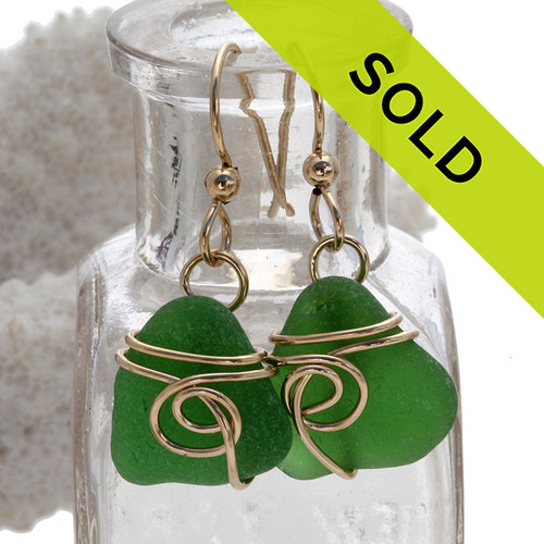 Perfect bright green genuine sea glass earrings set in a sea inspired sterling 14K Goldfilled setting. Sorry this sea glass jewelry item has been sold!