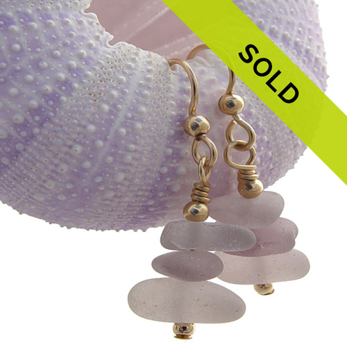 Triple Stack Lavender Genuine Sea Glass Earrings On Gold