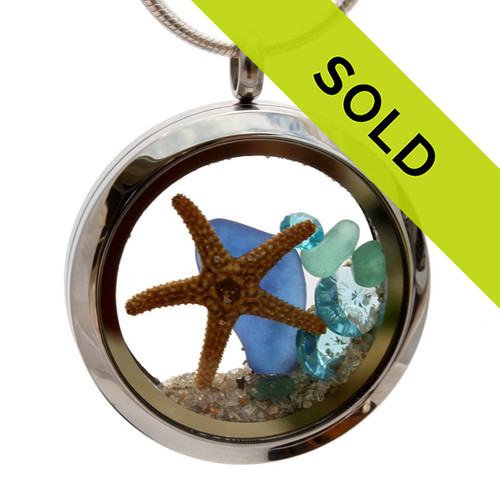 Aqua and Blue genuine beach found sea glass combined with a real starfish and crystal gems, a real underwater scene. Your own personal Beach-On-The-Go! Sorry this sea glass selection has been sold!