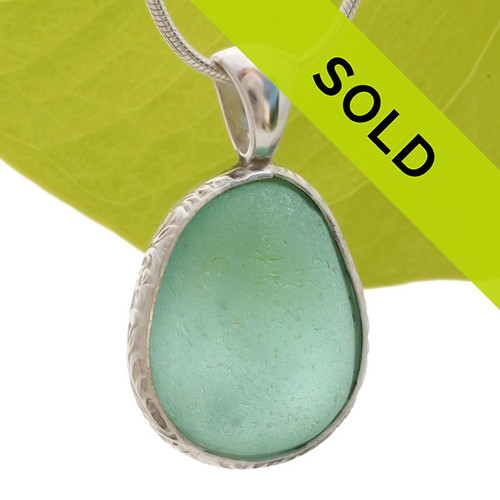 Thick Chunky Seafoam Green Sea Glass In Sterling Deluxe Wire Bezel© Natural UNALTERED sea glass left just the way it was found on the beach! Sorry this sea glass jewelry piece is no longer available.