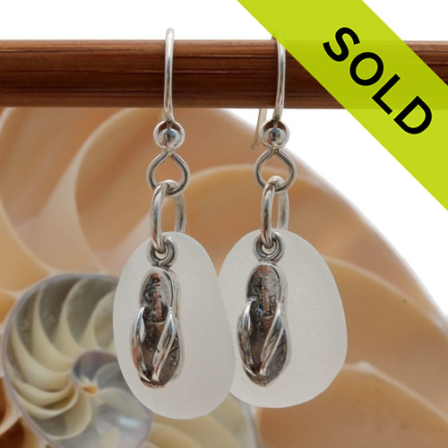 Airy and light pure white sea glass earrings in sterling with sterling flop charms! Sorry this Sea Glass Jewelry selection has already been SOLD!