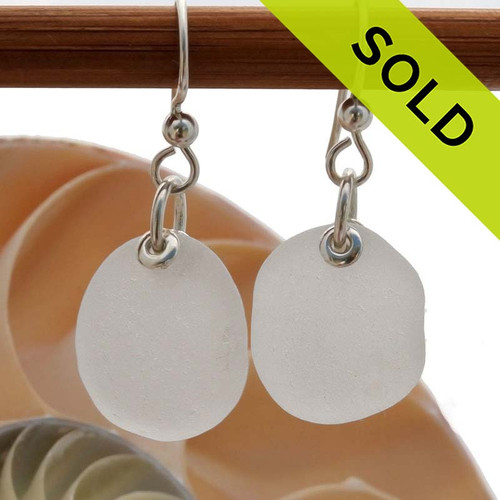 Simple and elegant beach found pure white Sea Glass Earrings on sterling silver. SOLD  - Sorry this Sea Glass Jewelry selection is NO LONGER AVAILABLE!