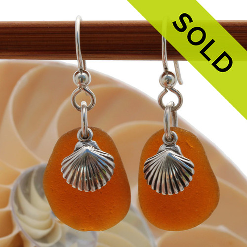 These are perfect piece of amber Certified Genuine Sea Glass in a simple sterling setting with Solid Sterling Silver shell charms.  Sorry these Sea Glass Earrings have been SOLD!